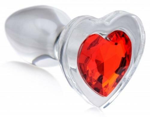 Image of Red Heart Anaalplug Van Glas Met Steentje - Large