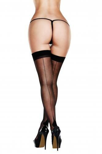 Image of Baci - Sexy Jarretel Kousen Met Naad - Zwart