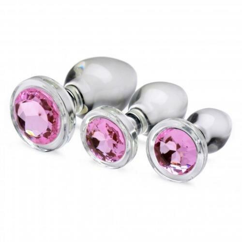 Image of Pink Gem Anaalplug Set Van Glas