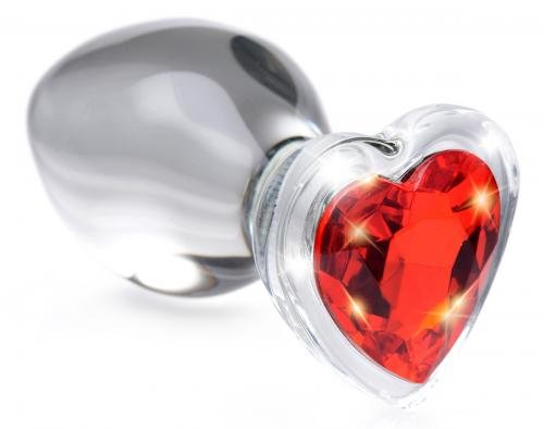 Image of Red Heart Anaalplug Van Glas Met Steentje - Medium