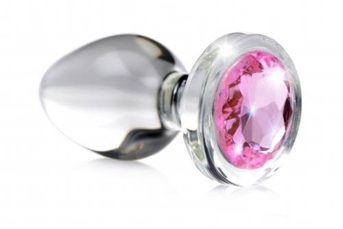 Image of Pink Gem Anaalplug Van Glas Met Steentje - Small