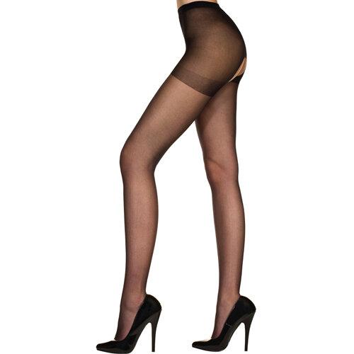 Image of Klassieke Panty Met Open Kruis - Zwart