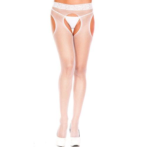 Image of Visnet Panty Met Open Kruis - Wit
