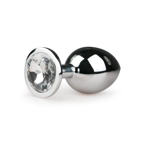 Image of Metalen buttplug met transparante diamant - zilverkleurig