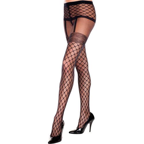 Image of Panty Met Visnet Jarretel Look - Zwart