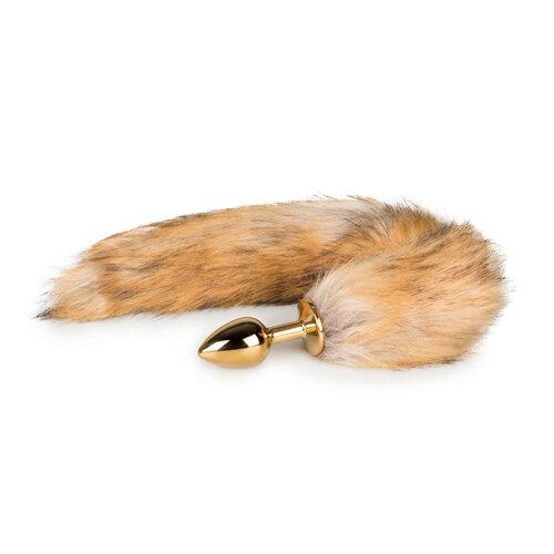 Image of Kleine goudkleurige buttplug met vossenstaart