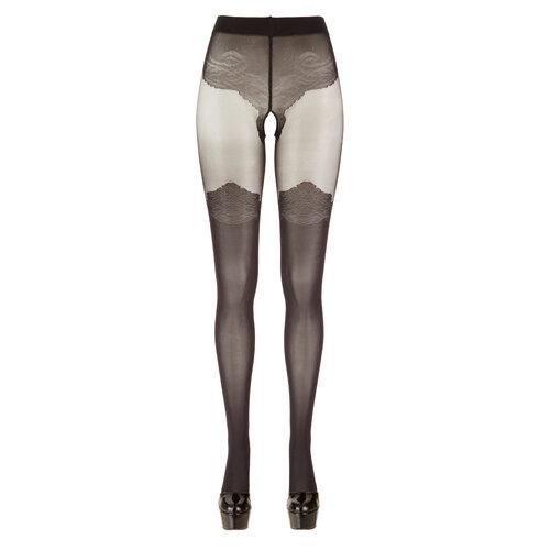 Image of Panty Met Kousen Look - Zwart